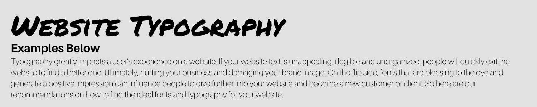 website header fonts